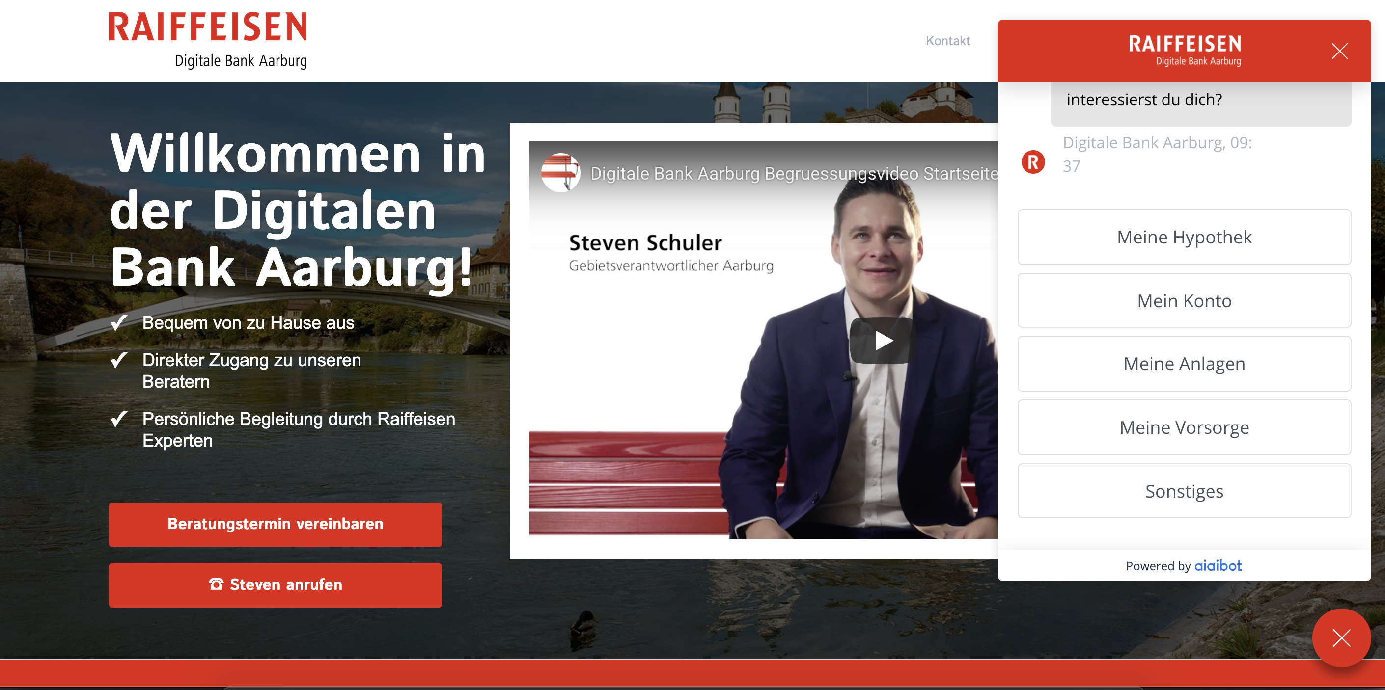 Raiffeisen - Digitale Bank Aarburg mit Chatbot